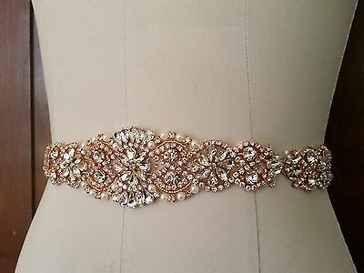 "Wedding Dress Sash Belt - Rose Gold Crystal Pearl Sash Belt = 14 1/2"" long"