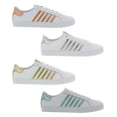 K Swiss Belmont Womens Classic Lo Top White  Leather Trainers Shoes Size 4-8