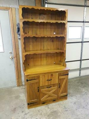 Vintage Handmade Maple China  Hutch Cabinet With Open Top