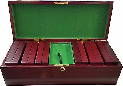 300 Cherry Wood Chip Case 6 Chip Trays Key NEW Closeout Holds 300 Poker Chips *