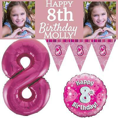 Pink Age 8 Happy 8th Birthday Party Decorations Banners Girls Celebration