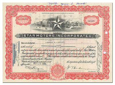 Star Motors, Incorporated Stock Certificate