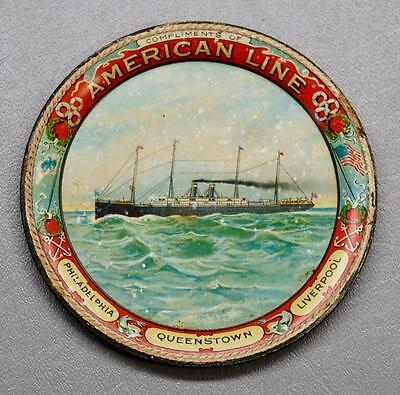 1900s AMERICAN LINES PASSENGER STEAM SHIP TIN LITHO SOUVENIR TIP TRAY