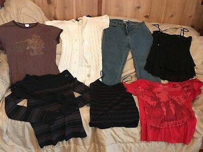 Lot Of 7 Women's Clothing Size Large 12 Jeans Sweaters Tanks Shirts