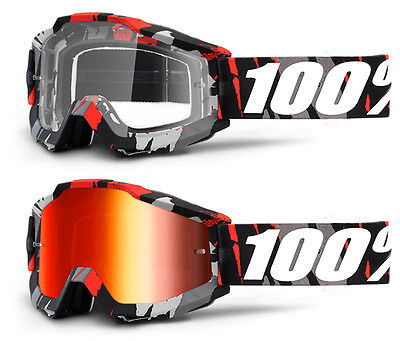 2017 100% PERCENT ACCURI MX MOTOCROSS GOGGLES MAGEMO RED MIRROR mtb