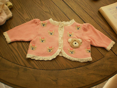 vintage baby sweater size 3-6 months pink with bears baby clothing