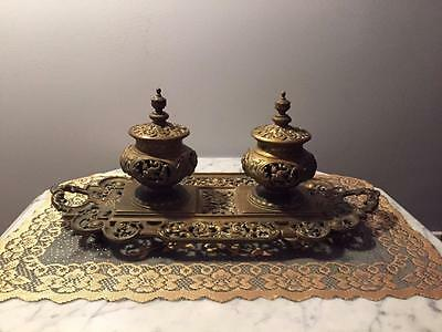 Very Rare and Unique inkwell Antique 19c. Double Inkwell Desktop Set Cast Brass