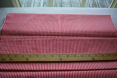 Vtg Red & White Stripe Cotton fabric For Antique Doll Dress or Quilt