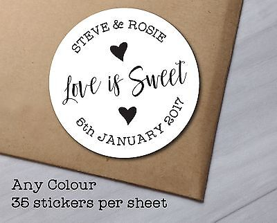 WEDDING STICKERS sweet cones favours, favor love is sweet personalised name WS25