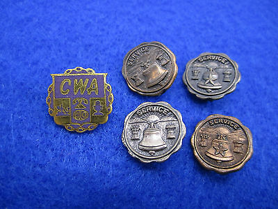 Vintage Employee Service Pins, Bronze, Sterling, CWA Communications Telephone