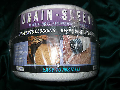 """Drain Sleeve Filter Fabric Sock 4 """" X 100"""" for Perforated Drain Pipe Made in USA"""