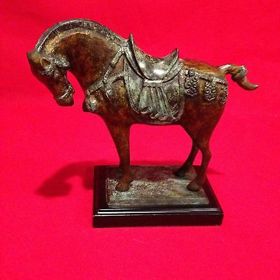 Very Rare and Unique TANG HORSE SCULPTURE ON WOOD BASE - SOLID BRASS