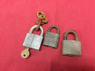Lot of 3 Vintage non-working Padlocks YALE SLAYMAKER TAYLOR missing keys