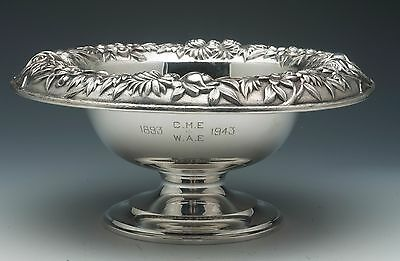 """S. Kirk & Son Repousse 9.5"""" Sterling Silver Pedastaled Fruit bowl"""