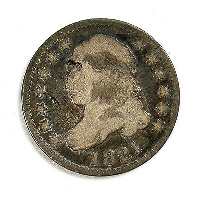 1821 Silver 10c Capped Bust Dime VG Very Good Details Damaged #97913 R