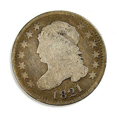 1821 Silver 10c Capped Bust Dime G Good Large Date #97911 R