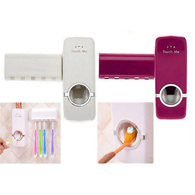 Automatic Toothpaste Dispenser+5 Toothbrush Holder Stand Set Wall Mount Rack