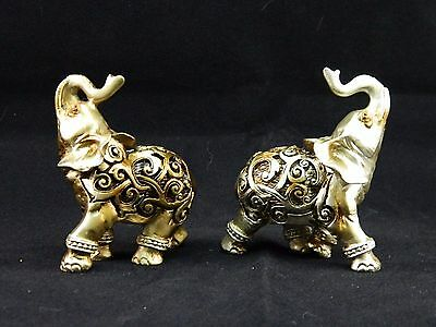 Small Golden Filigree Elephant Decorative Figurine Statue - Set of 2