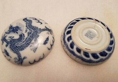 antique chinese ming dynasty porcelain ink container.