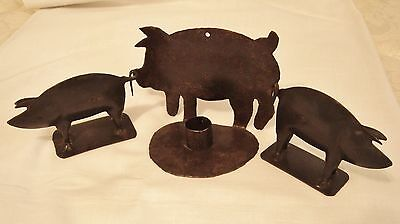 Cast Iron Metal Country Rustic Black Pig Candle Holder & 2 Pig Hog Figurines