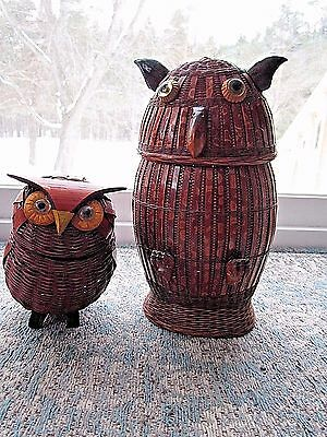 Lot Of 2 Vintage Wicker Wood Owls Shanghai Handicrafts Peoples Republic Of China
