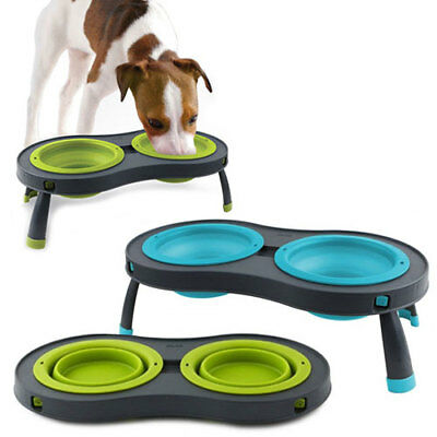 Dexas Double Elevated Collapsible Pet Dog Feeder 1cup Bowls Small