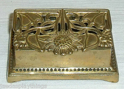 """Brass Stamp Box Vtg Floral Sunflower 3.5"""" By 1.25"""" Metal 2 Section"""