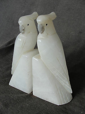 Pair of Vintage White Marble Onyx Carved Parrot Bookends