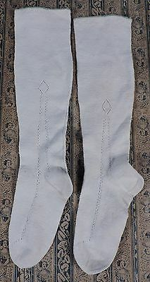 Mid 19Th C Hand Woven Stockings W Pattern Sides