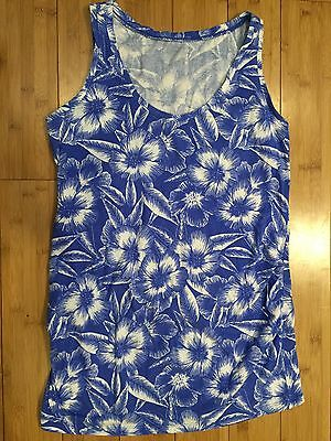 Motherhood Maternity Blue White Tropical Floral Print Sleeveless Tank Top Size S