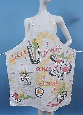 Vintage 1940'S Wine Women And Song Novelty Bar Apron