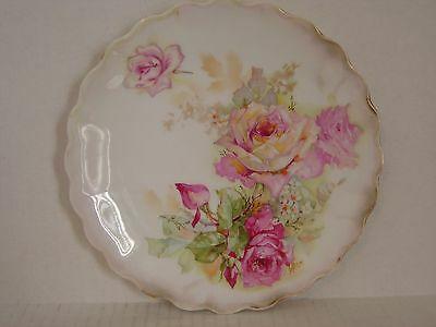 Vintage Bavaria Hand Painted Porcelain Plate With Pink Roses