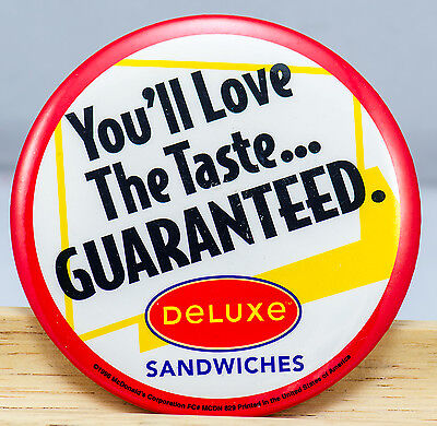 McDonald's Employee Promotional Pin - Deluxe Sandwiches Button 1996