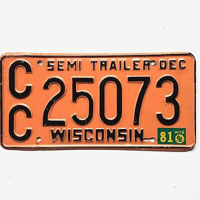 Wisconsin 1981 Truck Vintage License Plate Garage Old Tag Man Cave Rustic Decor