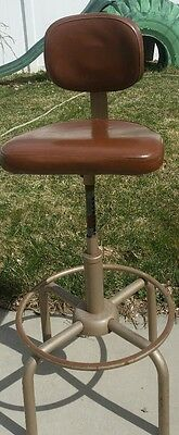 Vintage All Steel Equip. Metal Stool Industrial Adjustable Drafting Stool Chair