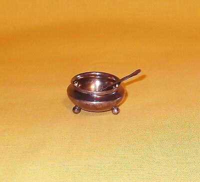 Antique Sterling Silver Open Salt Dip Cellar Dish & Spoon J. Wagner