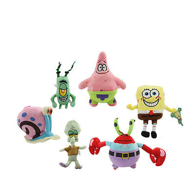 6/group SpongeBob SquarePants Patrick Star Squidward Tentacles Plush Soft Toys