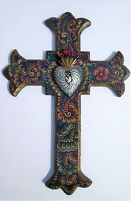 "Mexican Cross Sacred Heart, Embossed Tin, Repujado, LG 19+""H - Mexican Folk Art"