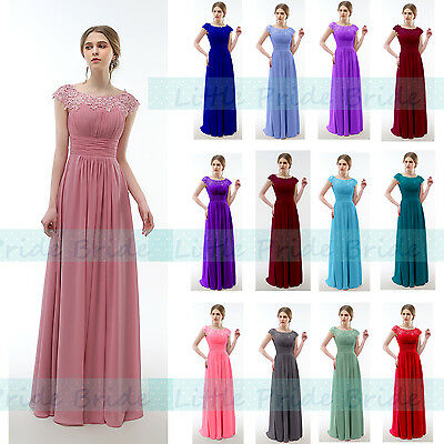 Lacy Chiffon Scoop Neck Bridesmaid Evening Prom Party Dress Js59 (Size 6-24)