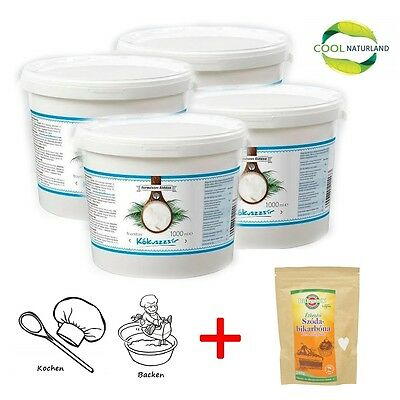 Coconut Oil, Kokosöl, Kokosfett 4 x1000ml +Gratis Baking Soda 250g