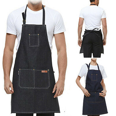 Hot Working Apron Comfy Apron Barista Cafe Shop Workwear Unisex Denim Pockets