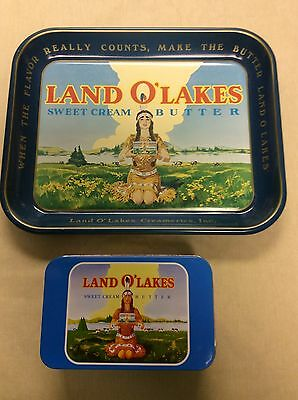 Land o Lakes Dairy metal serving tray and 75th anniversary tin