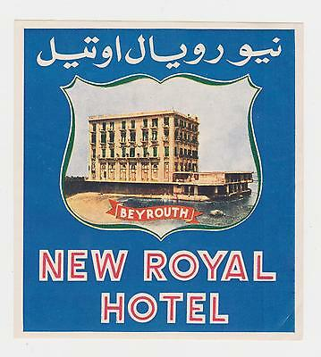 Vintage Luggage Label NewRoyal Hotel In Beyrouth