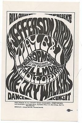 Nice Vintage Mint Original 1966 Jefferson Airplane Fillmore Concert Handbill Bg5