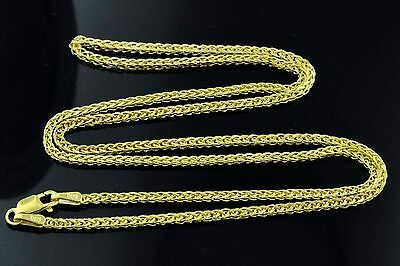 3.00 grams 14k solid yellow gold foxtail wheat chain necklace 24  inches #4416