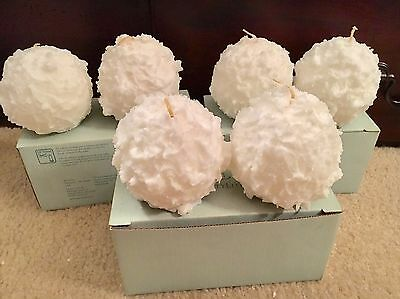 """PartyLite 3"""" Iced Snowberries Ball Candles LOT SET Of 6 New In Box! Snowballs!"""