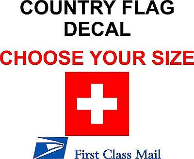 SWISS COUNTRY FLAG, STICKER, DECAL, 5YR VINYL, Country Flag of Switzerland