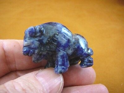 (Y-BUF-565) little Blue Sodalite BUFFALO bison gemstone carving gem figurine