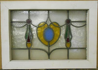 """OLD ENGLISH LEADED STAINED GLASS WINDOW Pretty Heart Design 20.75"""" x 15"""""""