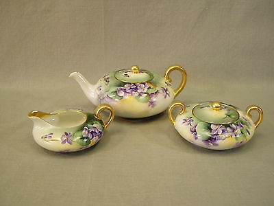 Antique Porcelain Tea Set Jaeger Co. Bavaria Teapot Creamer Sugar Violets signed